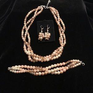 Pink Pearlesque Necklace, Earring, & Bracelet Set